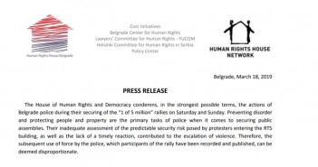 Press release of the House of Human Rights and Democracy regarding the conduct of the police against the demonstrators